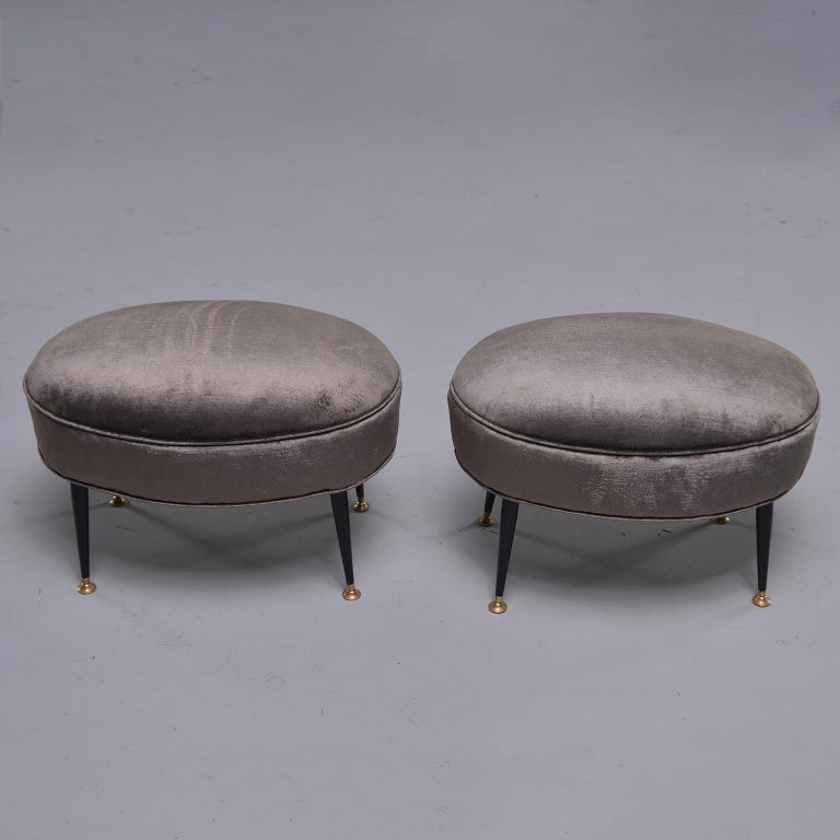 Pair of Midcentury Italian Chairs with Matching Stools For Sale 5