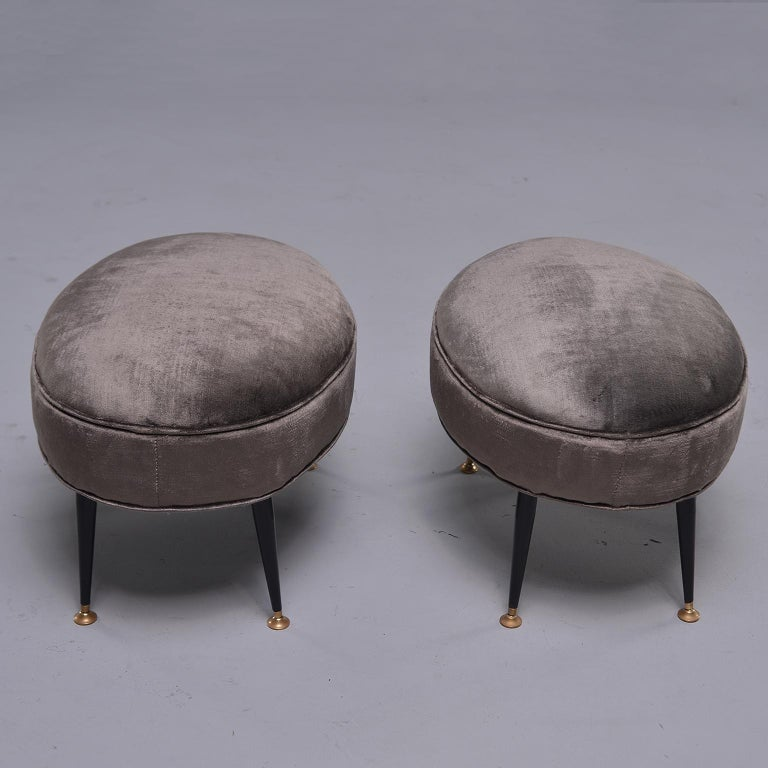 Pair of Midcentury Italian Chairs with Matching Stools For Sale 3
