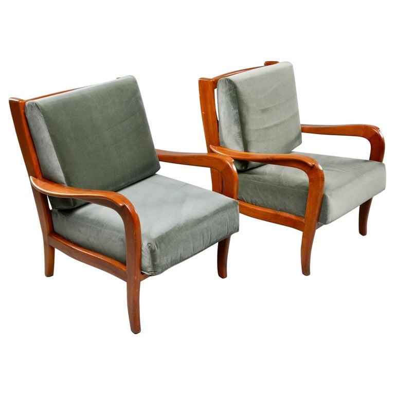 Pair of Midcentury Italian Cherrywood Chairs with Green Velvetc