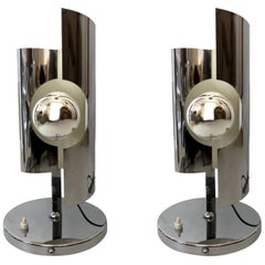 Pair of Midcentury Italian Chrome Table Lamps, 1970s