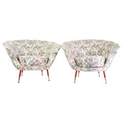 Pair of Midcentury Italian Clam Shell Armchairs