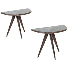 Pair of Midcentury Italian Demilune Tables with Breccia Marble Tops
