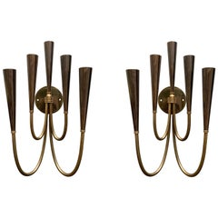 Pair of Midcentury Italian Dual Tone Brass and Gray Metal Sconces