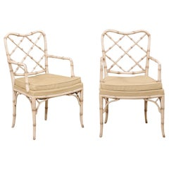 Pair of Midcentury Italian Faux-Bamboo Armchairs with Newly Upholstered Seats