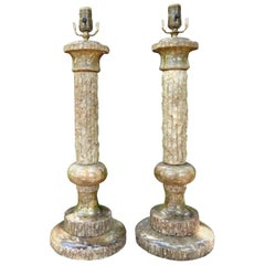 Pair of Midcentury Italian Faux Bois Marble Lamps, Marbro Attributed