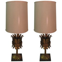Pair of Midcentury Italian Gilt Metal Table Lamps with Marble Plinth Base