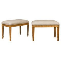 Pair of Midcentury Italian Giltwood Benches with Fluted Accents and Upholstery