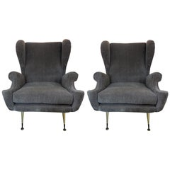 Pair of Midcentury Italian Gio Ponti Inspired Lounge Chairs or Armchairs