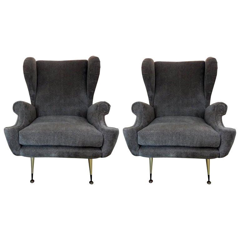 Pair of Midcentury Italian Gio Ponti Inspired Lounge Chairs or Armchairs For Sale