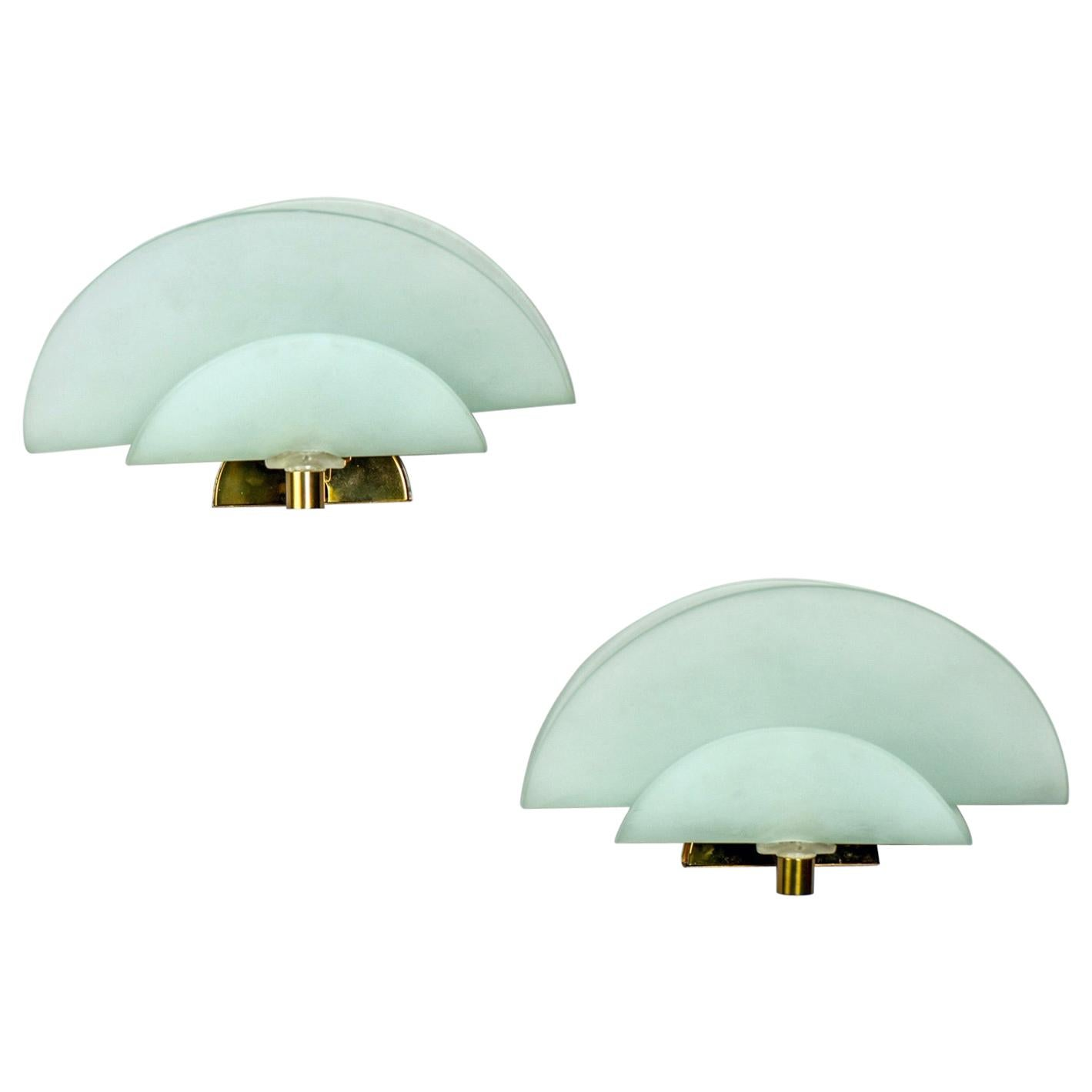 Pair of Midcentury Italian Glass Sconces with Brass Fittings