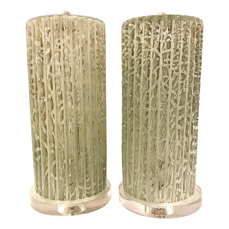 Pair of Midcentury Italian Glass Table Lamps For Sale