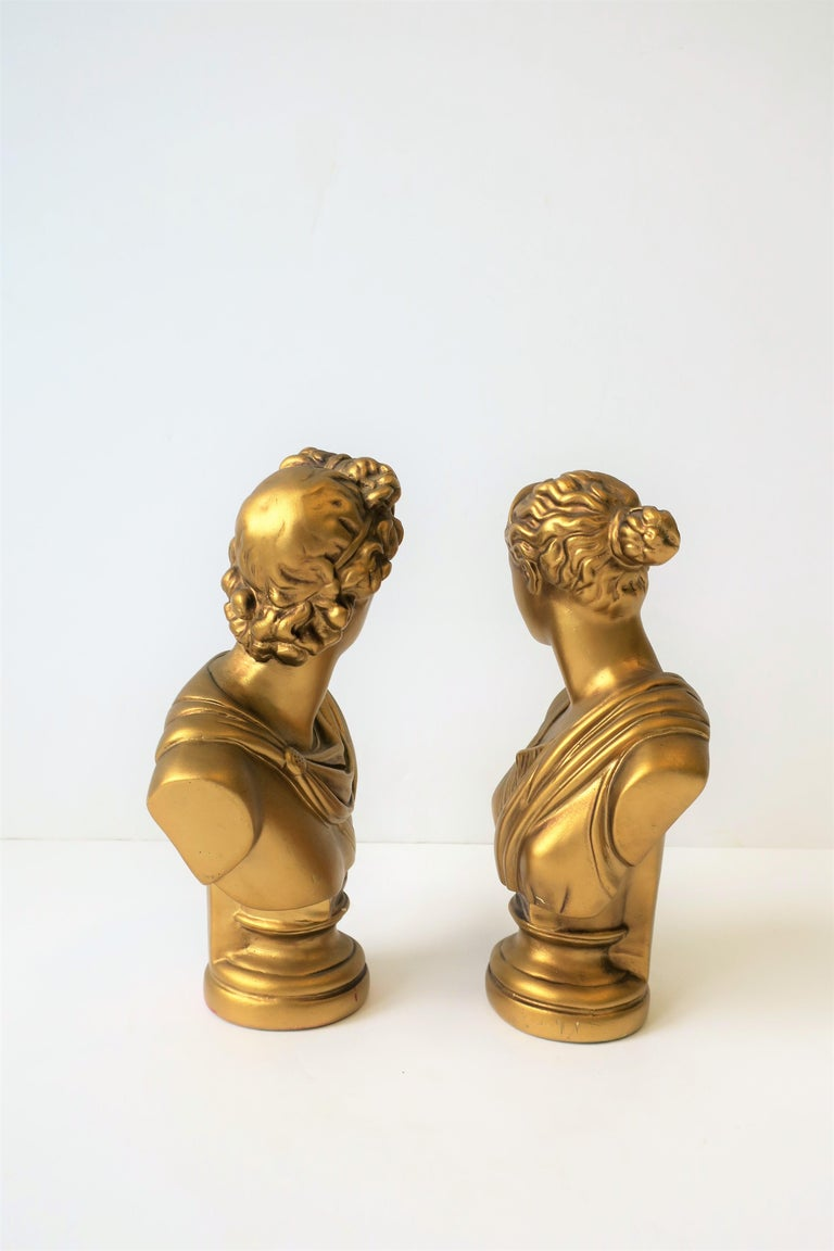 Pair of Midcentury Italian Gold Plaster Classic Roman Bust Sculptures For Sale 4