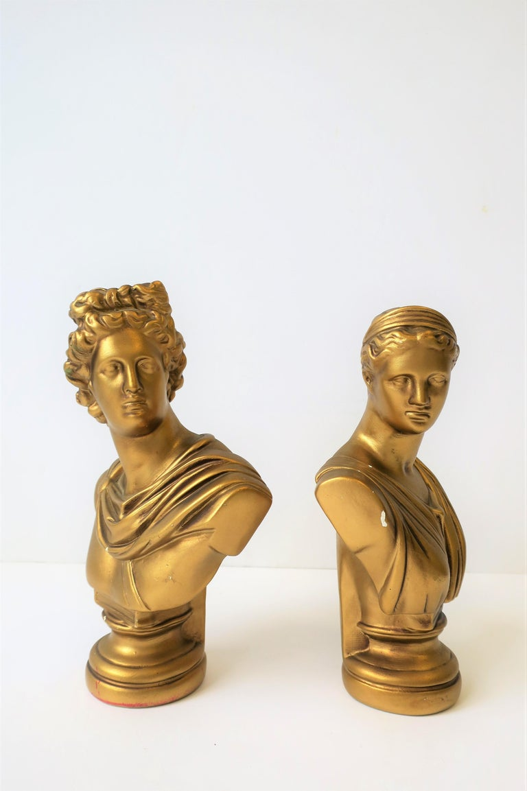 Pair of Midcentury Italian Gold Plaster Classic Roman Bust Sculptures For Sale 6