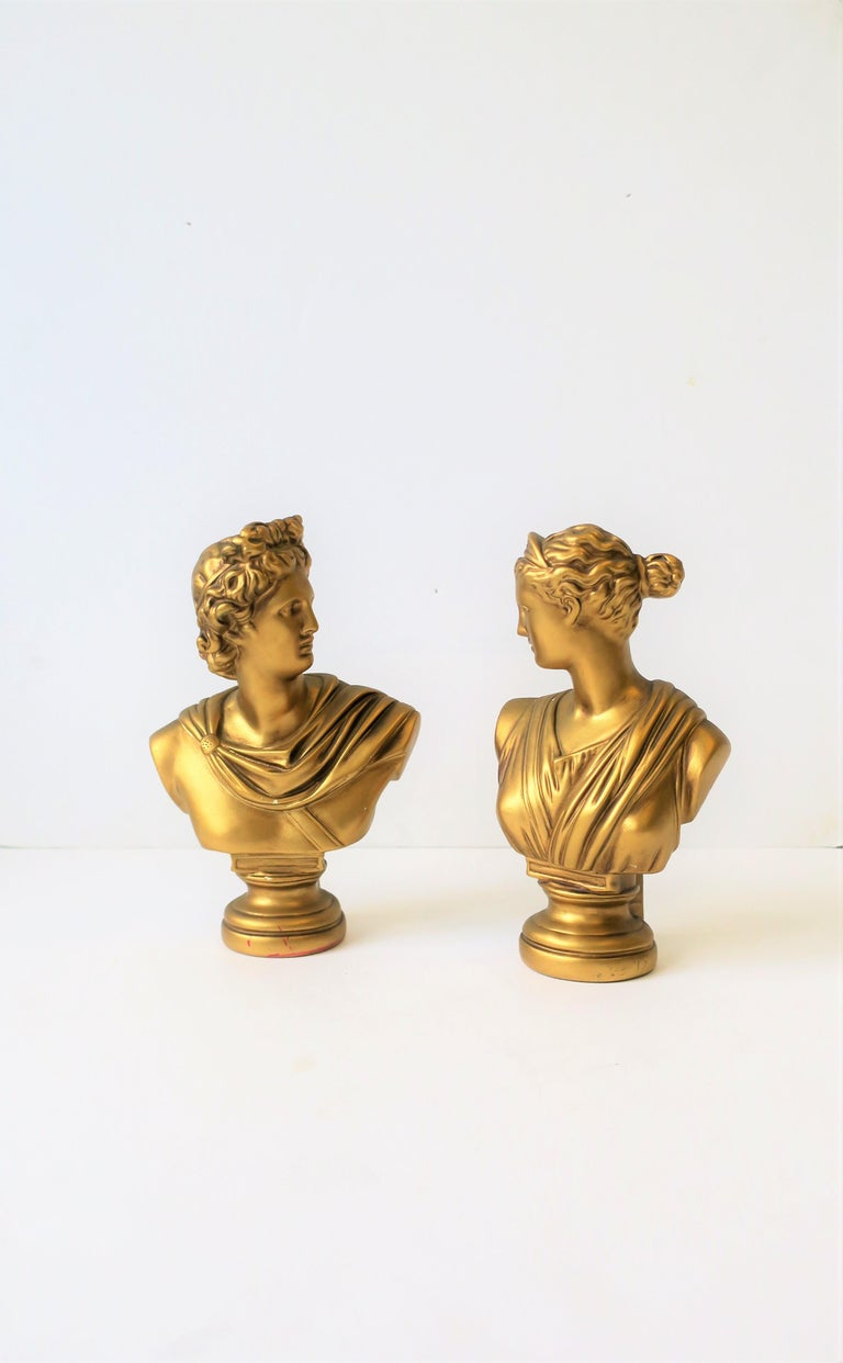 Pair of Midcentury Italian Gold Plaster Classic Roman Bust Sculptures For Sale 7