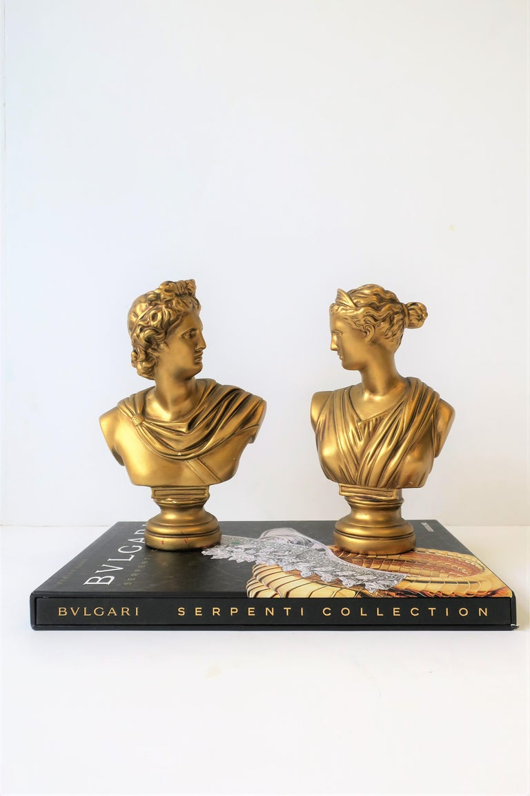 Pair of Midcentury Italian Gold Plaster Classic Roman Bust Sculptures For Sale 8