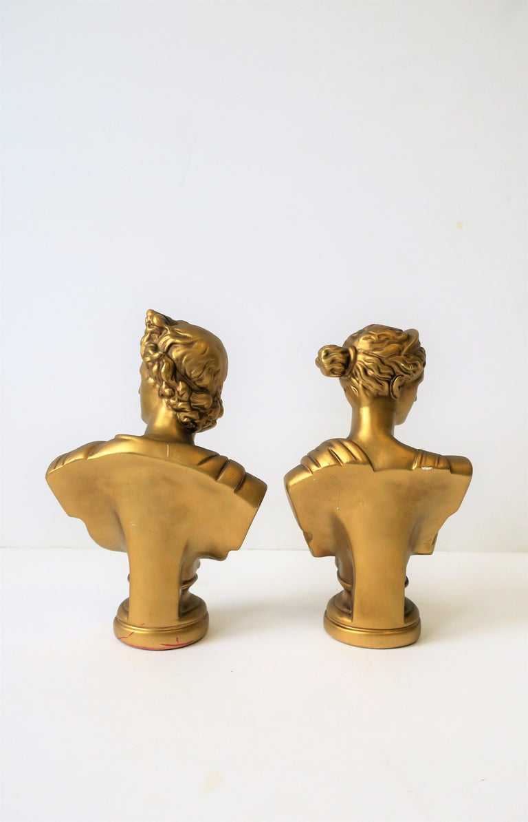 Pair of Midcentury Italian Gold Plaster Classic Roman Bust Sculptures For Sale 3