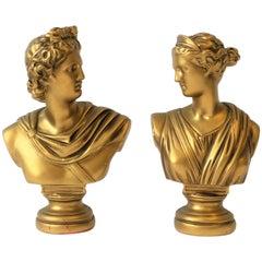 Pair of Midcentury Italian Gold Plaster Classic Roman Bust Sculptures