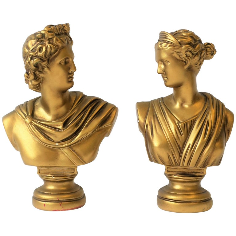 Pair of Midcentury Italian Gold Plaster Classic Roman Bust Sculptures For Sale