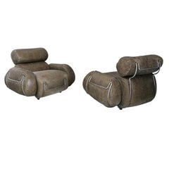 Pair of Midcentury Italian Grey Leather and Steel Bubble Armchairs, 1970s