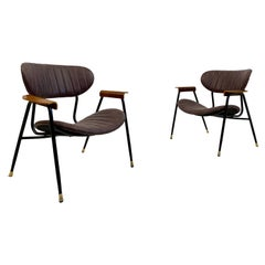 Pair of Midcentury Italian Leather Armchairs by Gastone Rinaldi for RIMA