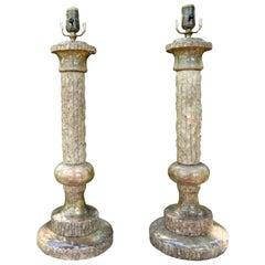 Pair of Midcentury Italian Marble Lamps, Marbro Attributed