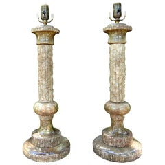 Pair of Midcentury Italian Marble Lamps, Marbro Attributed
