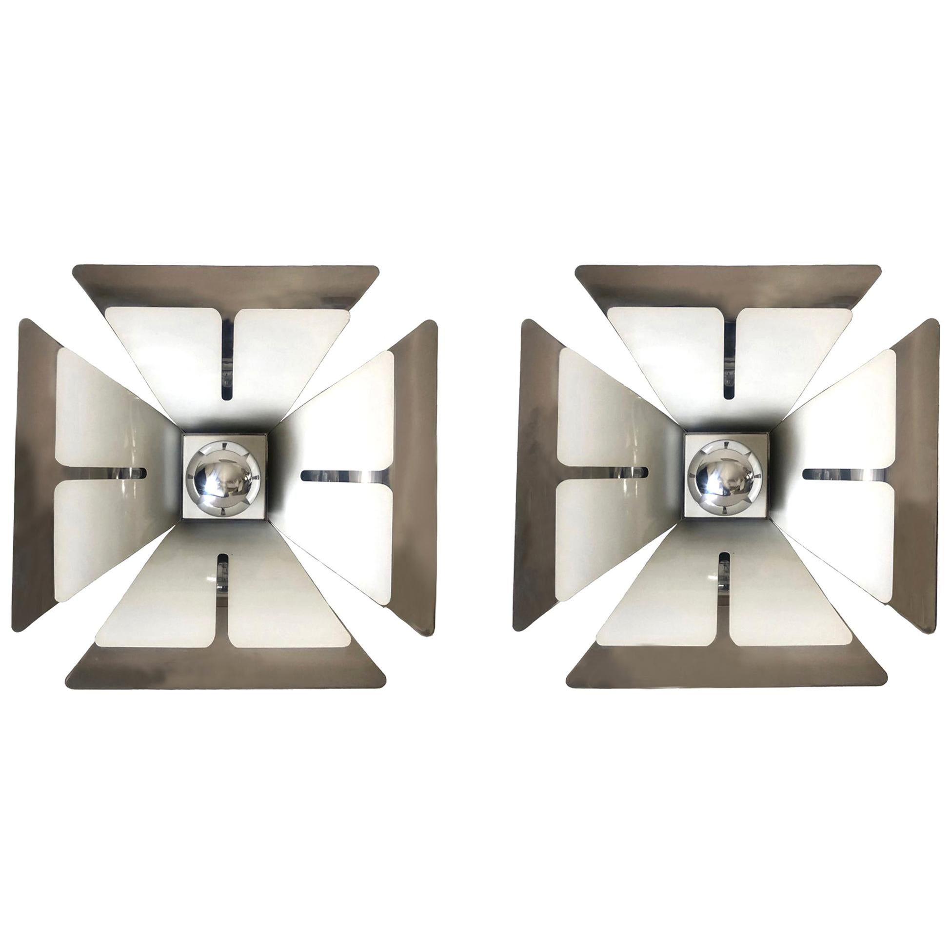 Pair of Midcentury Italian Metal Flushmounts by Reggiani, 1970s