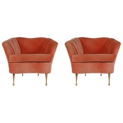 Pair of Midcentury Italian Modern Pink Velvet Lounge or Clubs Chairs