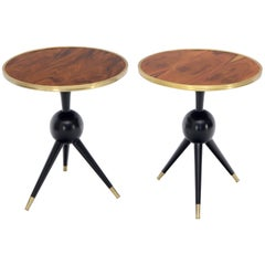 Pair of Midcentury Italian Modern Rosewood Tops Brass Edge Ebonized Base Tables