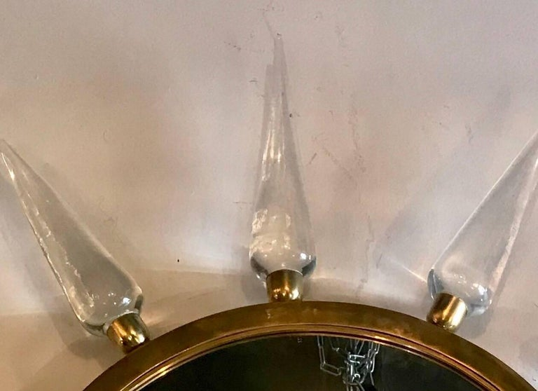 Mid-Century Modern Pair of Midcentury Italian Murano Glass and Brass Sole Mirrors For Sale