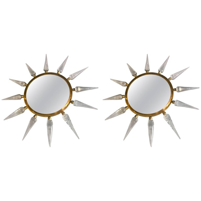 Pair of Midcentury Italian Murano Glass and Brass Sole Mirrors For Sale