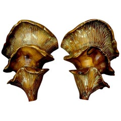 Pair of Midcentury Italian Organic Carved Wood Sconces