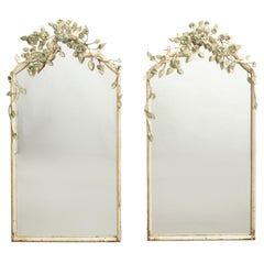 Pair of Midcentury Italian Painted Metal Wall Mirrors with Flowers and Foliage