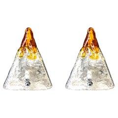 Pair of Midcentury Italian Pyramid Murano Table Lamps by Mazzega, 1970s
