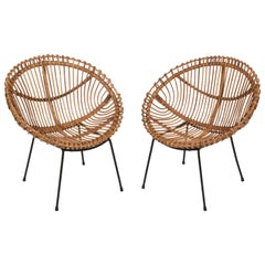 Pair of Midcentury Italian Rattan and Black Metal Shell-shaped Armchairs, 1950s