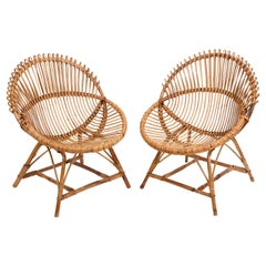 Pair of Midcentury Italian Rattan and Metal Shell-Shaped Armchairs, Italy, 1950s