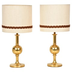 Pair of Midcentury Italian Solid Gilt Brass Table Lamps, 1980s