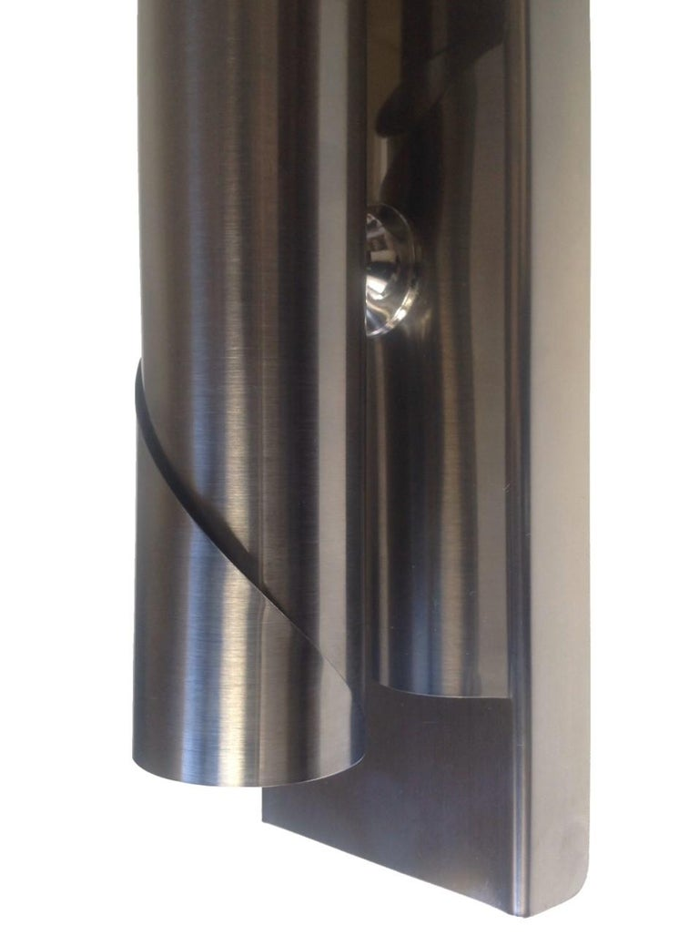 Metal Pair of Midcentury Italian Space Age Wall Sconces, 1970s For Sale