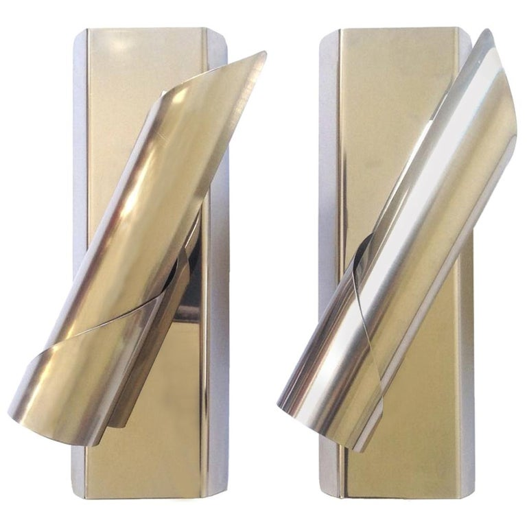 Pair of Midcentury Italian Space Age Wall Sconces, 1970s For Sale