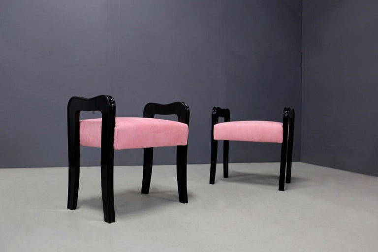 Mid-20th Century Pair of Midcentury Italian Stools Attributed to Paolo Buffa, 1950s For Sale