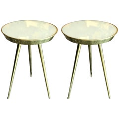 Pair of Midcentury Italian Taupe Glass and Brass Side Tables