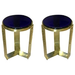 Pair of Midcentury Italian Thick Cobalt Blue Blown Glass and Brass Side Tables