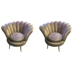 Pair of Midcentury Italian Velvet Lounge Chairs