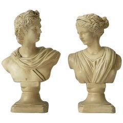 Pair of Midcentury Italian White Plaster Classic Roman Bust Sculptures
