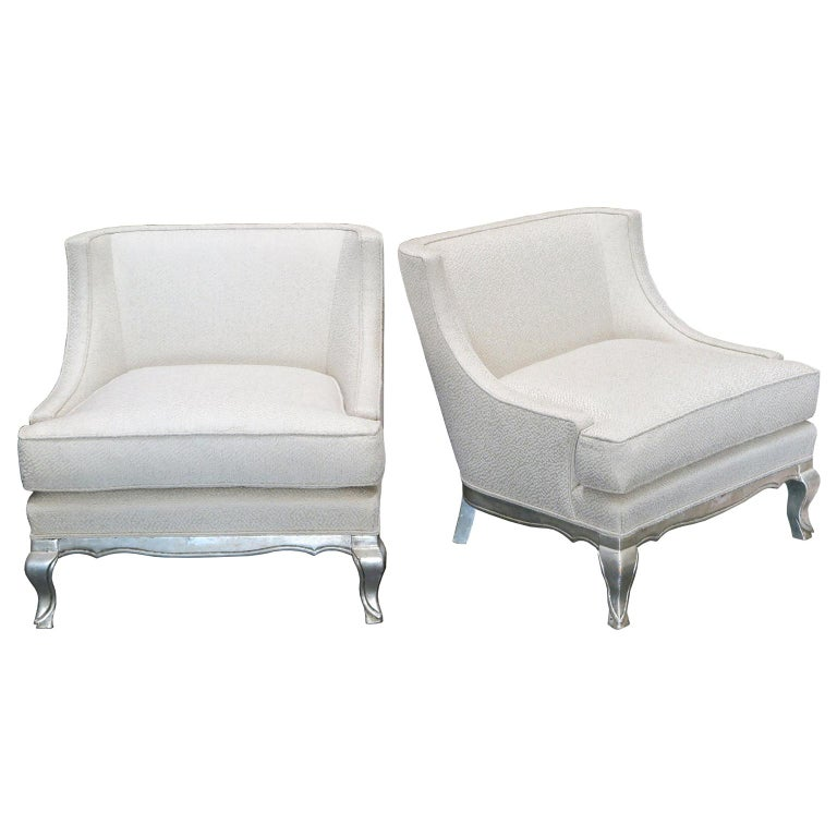 Pair of Midcentury Ivory Linen and Silk Lounge Chairs, USA, circa 1950s For Sale