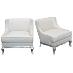 Pair of Midcentury Ivory Linen and Silk Lounge Chairs, USA, circa 1950s