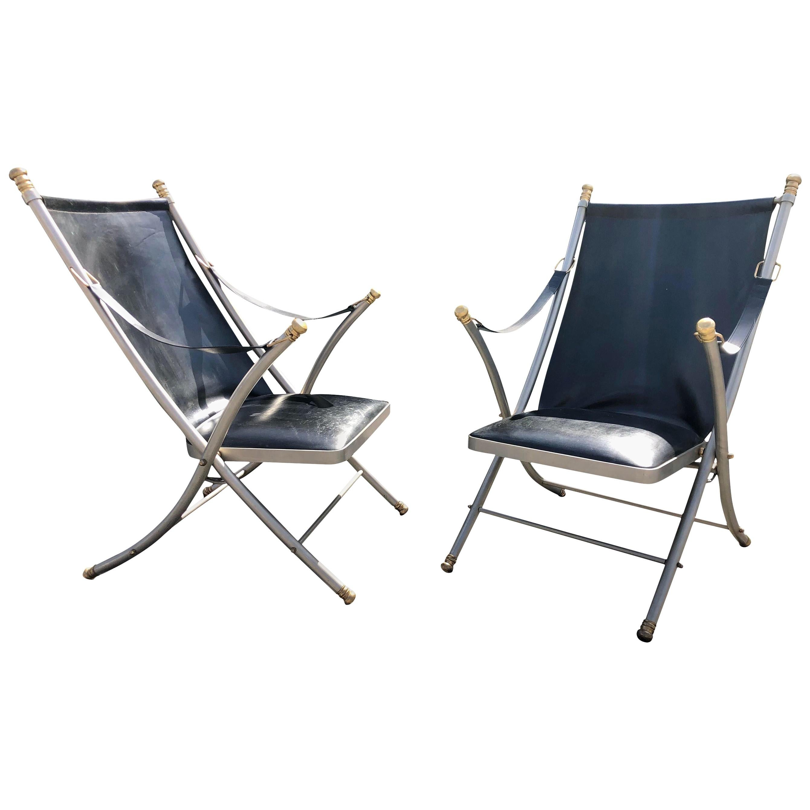 Pair of Midcentury Jansen Campaign Chairs