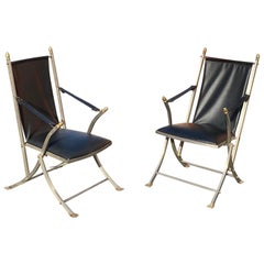 Pair of Midcentury Jansen Style Steel and Leather Folding Campaign Chairs
