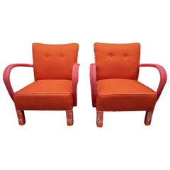 Pair of Midcentury Jindrich Halabala Orange Brno Club Chairs