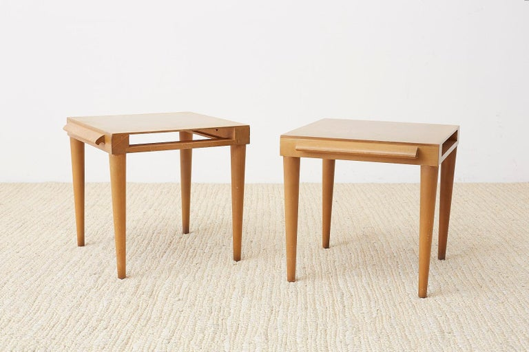 Pair of Midcentury John Keal for Brown Saltman Drink Tables In Distressed Condition For Sale In Oakland, CA